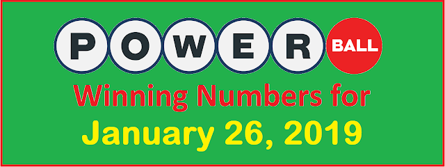 PowerBall Winning Numbers for Saturday, 26 January 2019