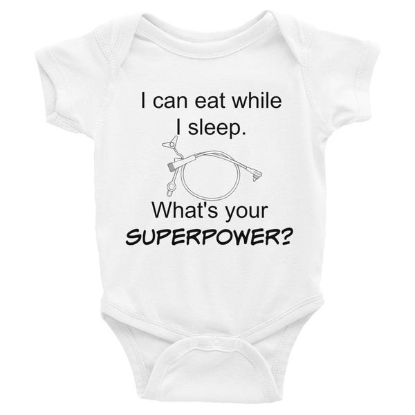 I can eat while I sleep.  What's your superpower? #feedingtube #gtube #supertubie