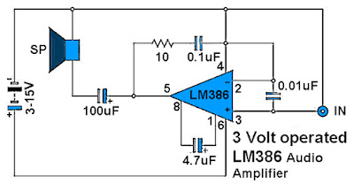 3 Volt Operated Power Amplifier Circuit Diagram