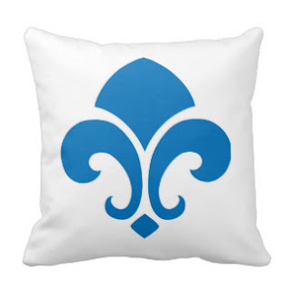 Blue fleur de lis throw pillow
