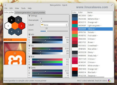 Gpick, advance color picker app for Linux