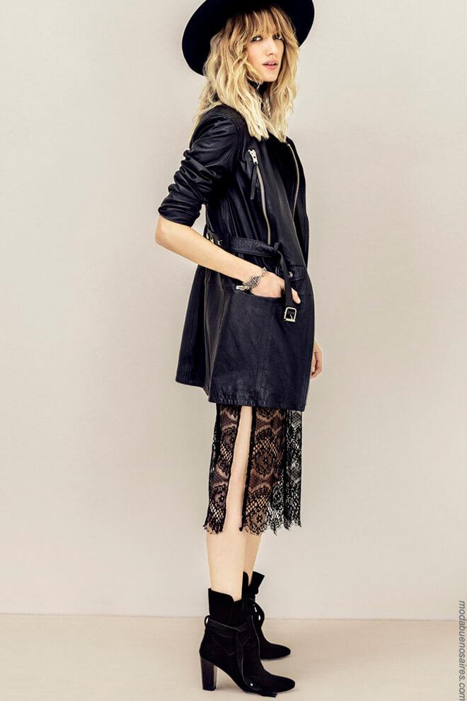 Moda mujer invierno 2017 vestidos largos de moda. Camperas y botas de cuero para mujer 2017 moda.