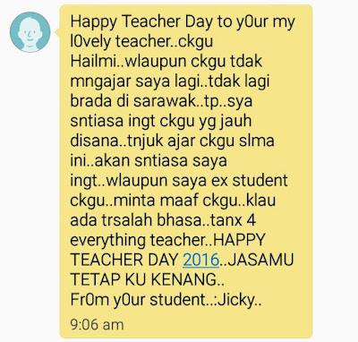 Ucapan pelajar untuk Hari Guru