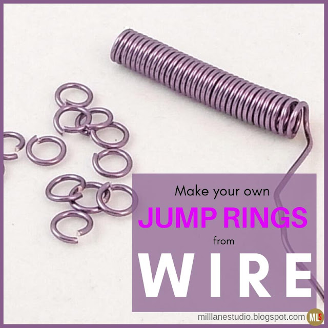 Handmade jump rings and coil of wire ready for cutting.