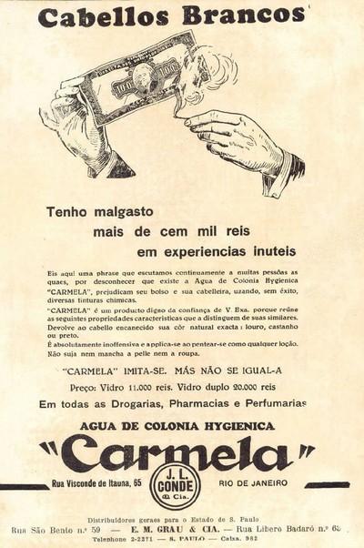 Campanha da Tintura Carmélia, apresentada no final dos anos 20