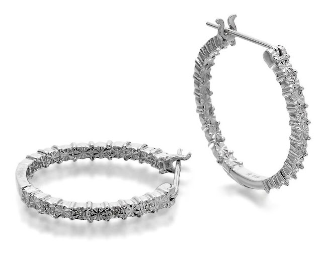Silver Diamond Hoops