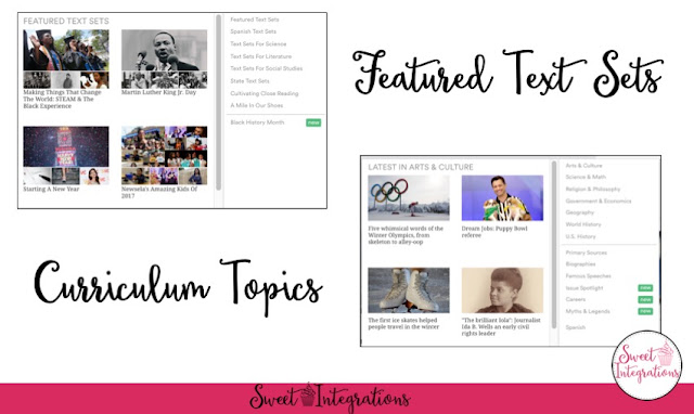 """Featured Text Sets"" and ""Curriculum Topics"" screenshot examples"