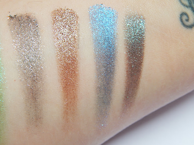 Urban Decay Moondust palette Bottom Row Dry Swatches (Granite, lithium, vega, and galaxy)