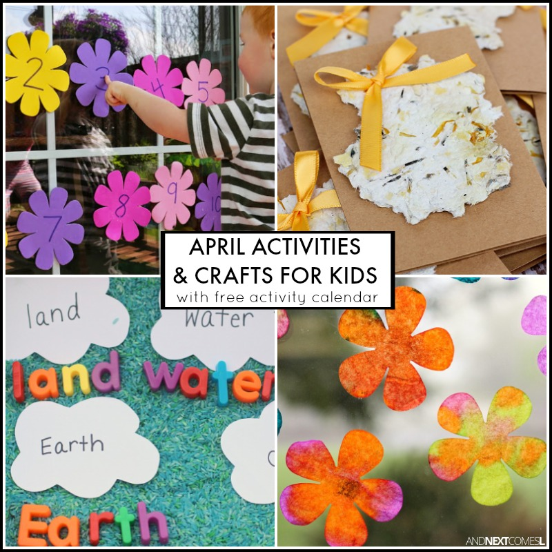 April Activities And Crafts For Kids With Free Downloadable Activity Calendar