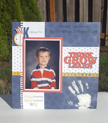 Scrapbook page with Kindergarten school photo and Texture Paste handprint