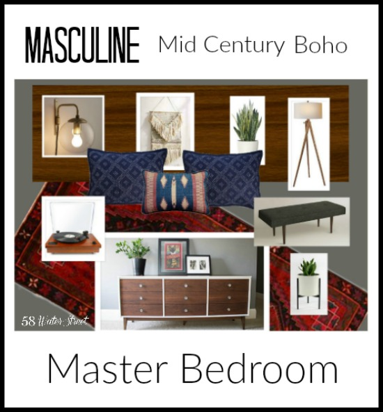 master bedroom, decorating, design, boho, mid century
