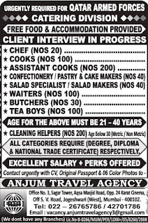 Recruitment to Qatar Armed Forces - Catering Division