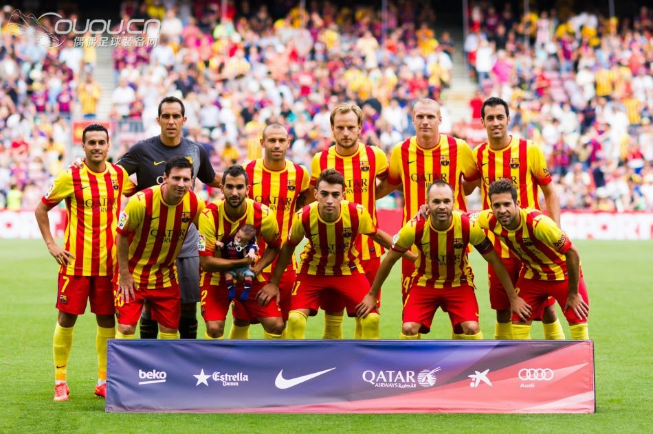 1ccf7aa5ba9 jersey  With the Catalan regional flag colour shirt in Barcelona