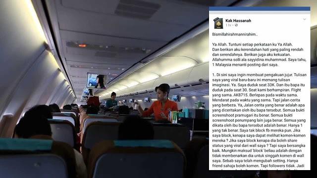 Kak Hassanah Akhirnya Mengaku Cerita Viral Tenangkan Budak Atas Pesawat Hanya Imaginasi