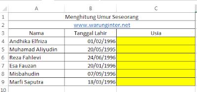 Tabel Menghitung Umur Seseorang dengan Tepat di microsoft exccel