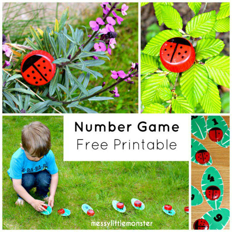 Learn to count with a free printable leaf and ladybird (ladybug) number game.  This number hunt activity makes learning to order and match numbers fun for toddlers and preschoolers.