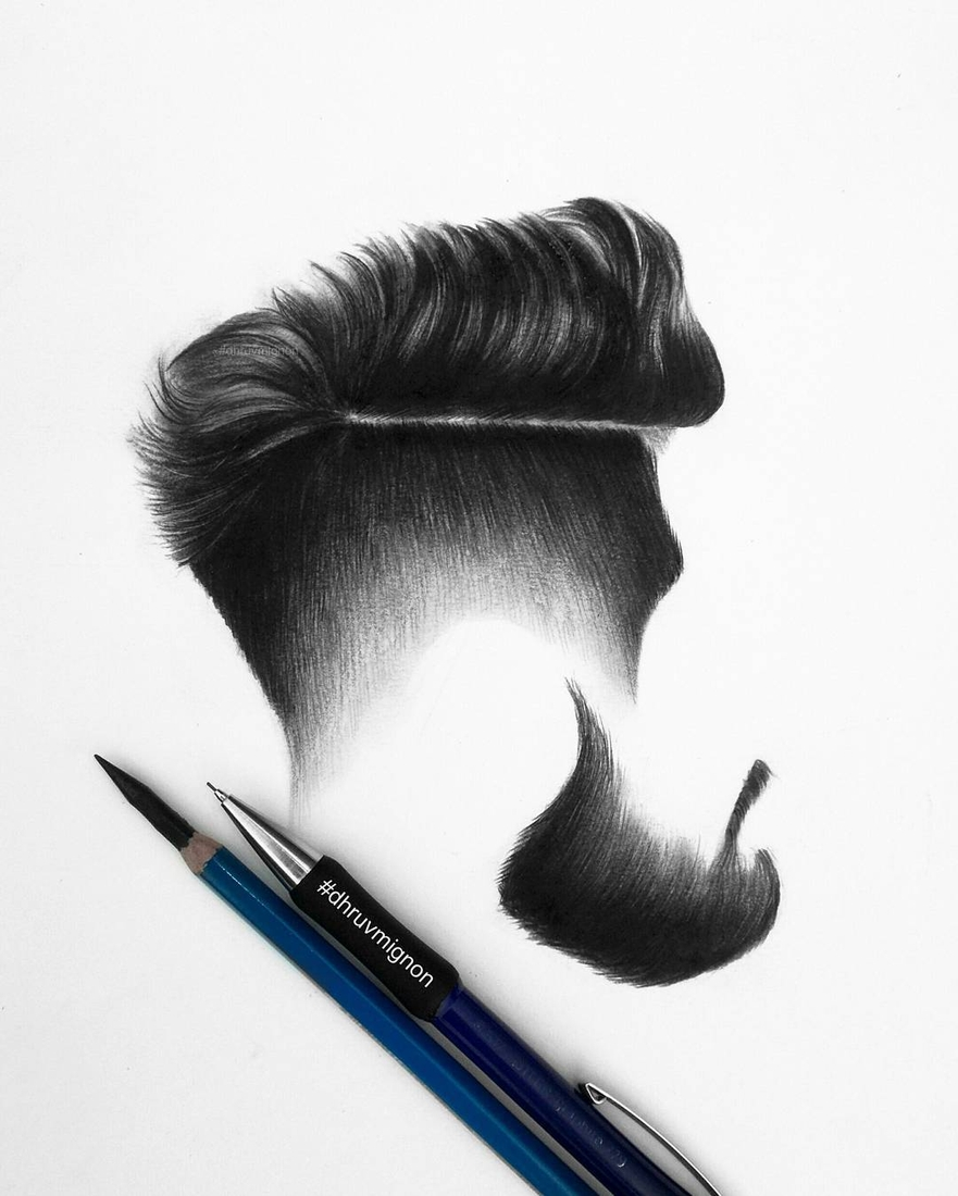 10-dhruvmignon-Minimalist-Realistic-Hair-Study-Drawings-www-designstack-co