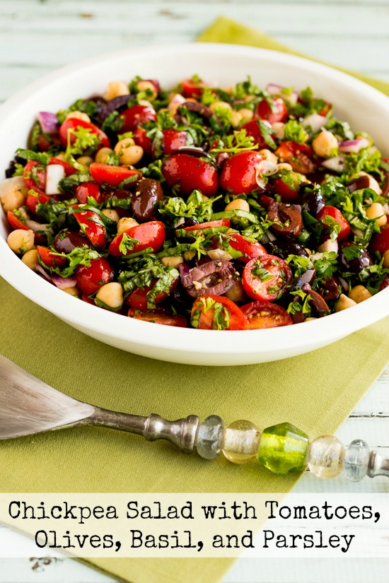 Chickpea (Garbanzo Bean) Salad with Tomatoes, Olives, Basil, and Parsley found on KalynsKitchen.com
