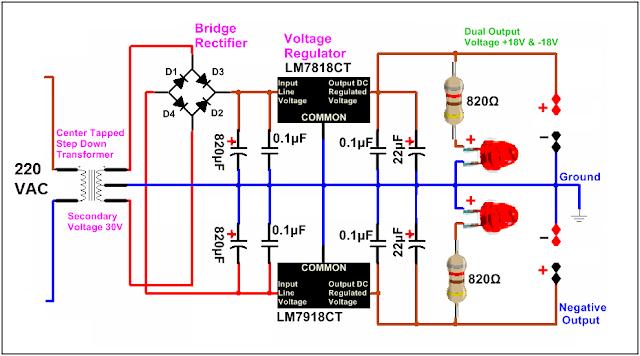 الدائرة الالكترونية لمصدر تغذية بجهد مستمر -18 و+18 فولت باستخدام 7818 و7918