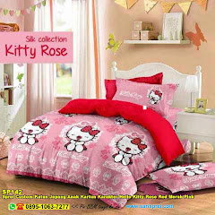 Sprei Custom Katun Jepang Anak Kartun Karakter Hello Kitty Rose Red Merah Pink