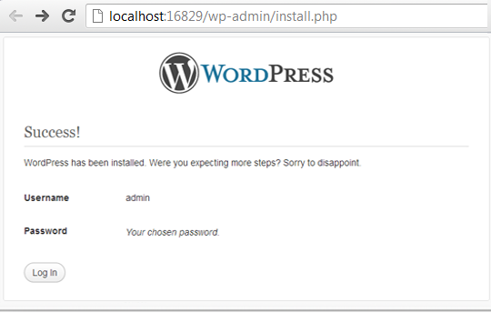 WP Installation Completed on Localhost