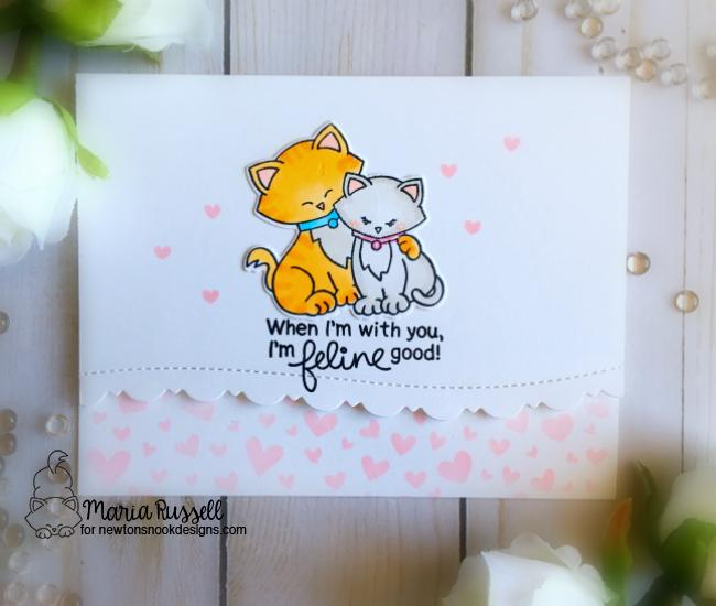 Cat Valentine by Maria Russell | Newton's Sweetheart Stamp Set and Tumbling Hearts Stencil by Newton's Nook Designs #newtonsnook #handmade