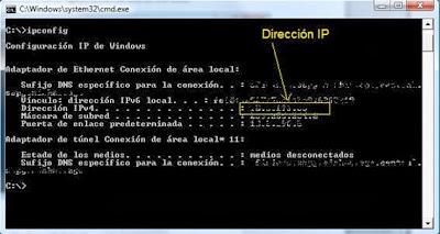 ejecución del comando ipconfig