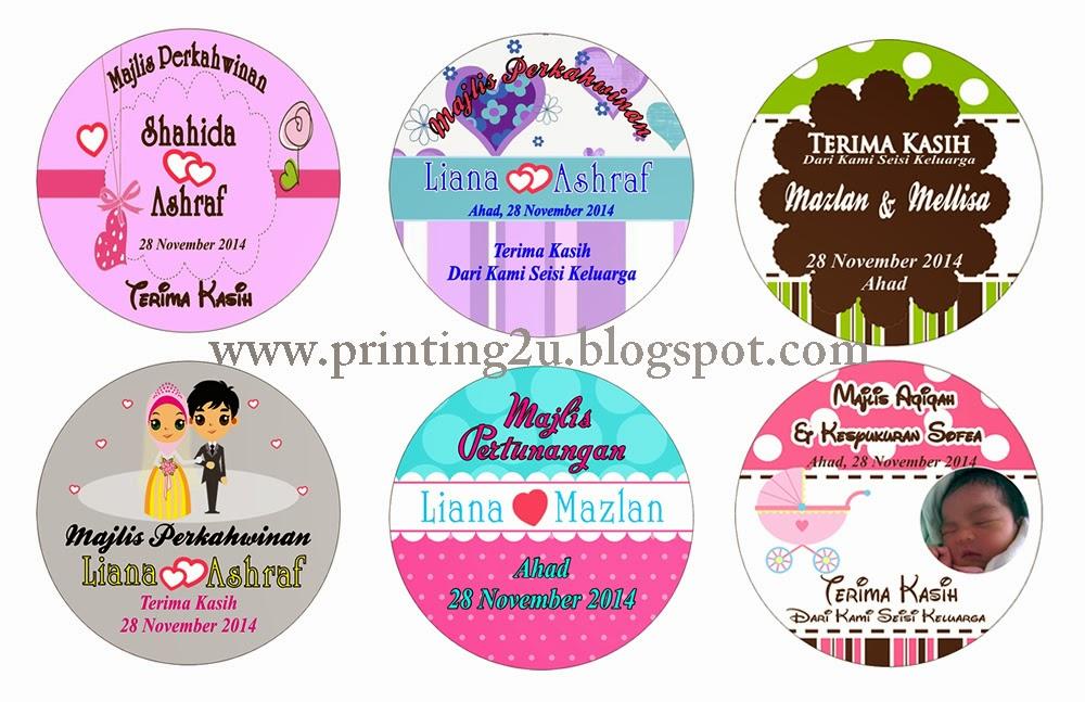 Tempahan Sticker & Tag - Untuk Majlis Perkahwinan, Pertunangan