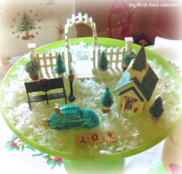 cakestand miniature Christmas village