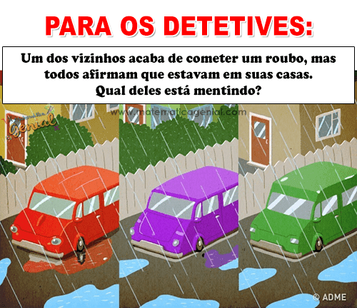 Para os detetives: Um dos vizinhos acaba de cometer um roubo, mas todos...