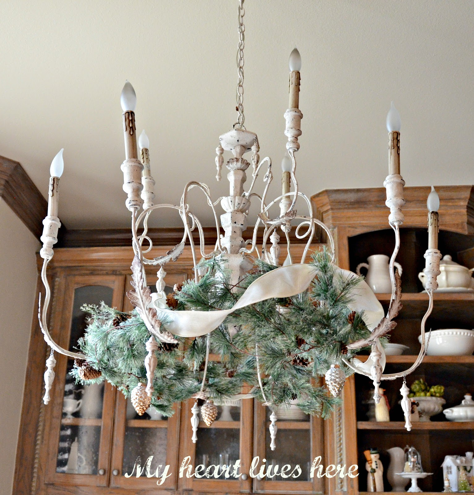 Garland on a French Country Chandelier My Heart Lives Here