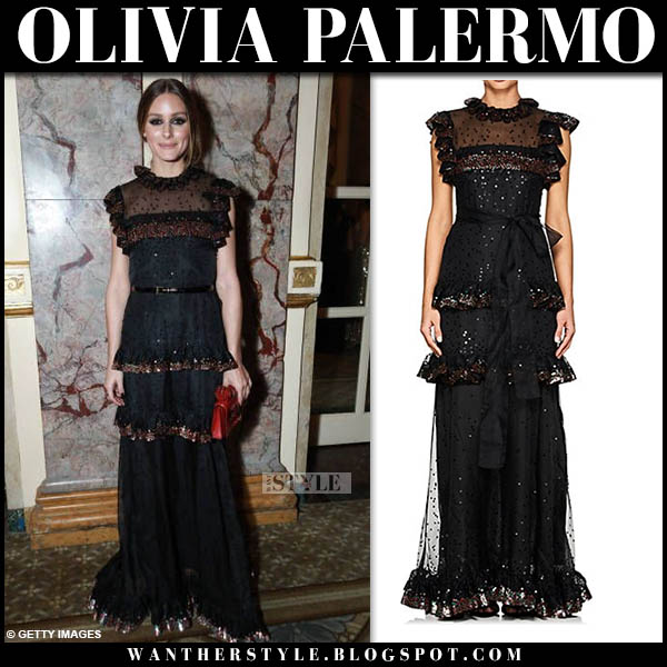Olivia Palermo in black sleeveless tiered maxi dress valentino red carpet style october 16