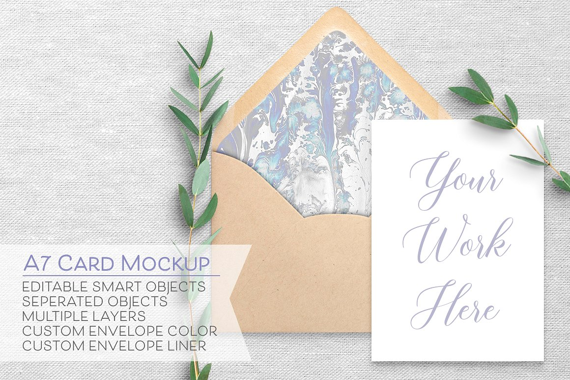 Simple White Card Envelope Mockup