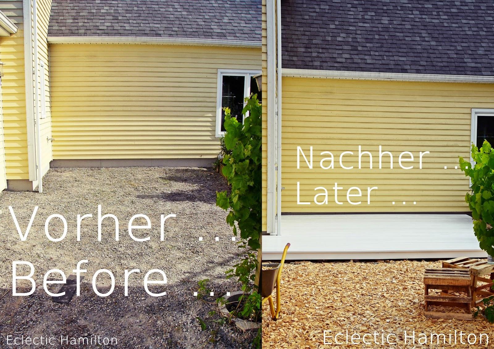 DIY Terrasse aus Paletten gebaut - Vorher Nachher