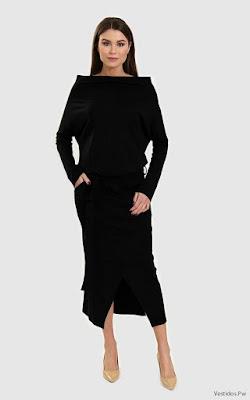 Vestido Negro Manga Larga