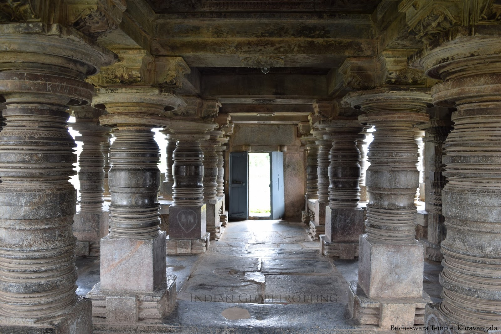 Typical hoysala type lathe tuned pillar inside the open mantapa of Bucheswara temple in koravangala