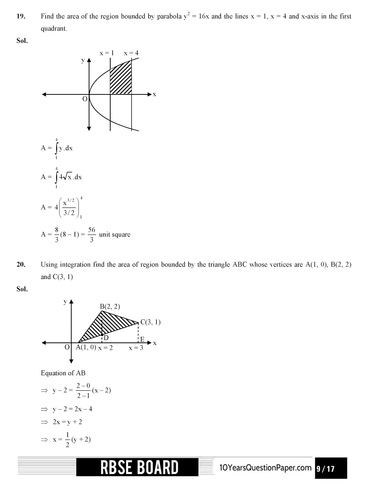 RBSE class 12th 2017 Mathematics question paper with solution