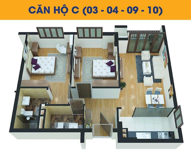 Thiết kế căn 2 phòng ngủ loại C tòa C1