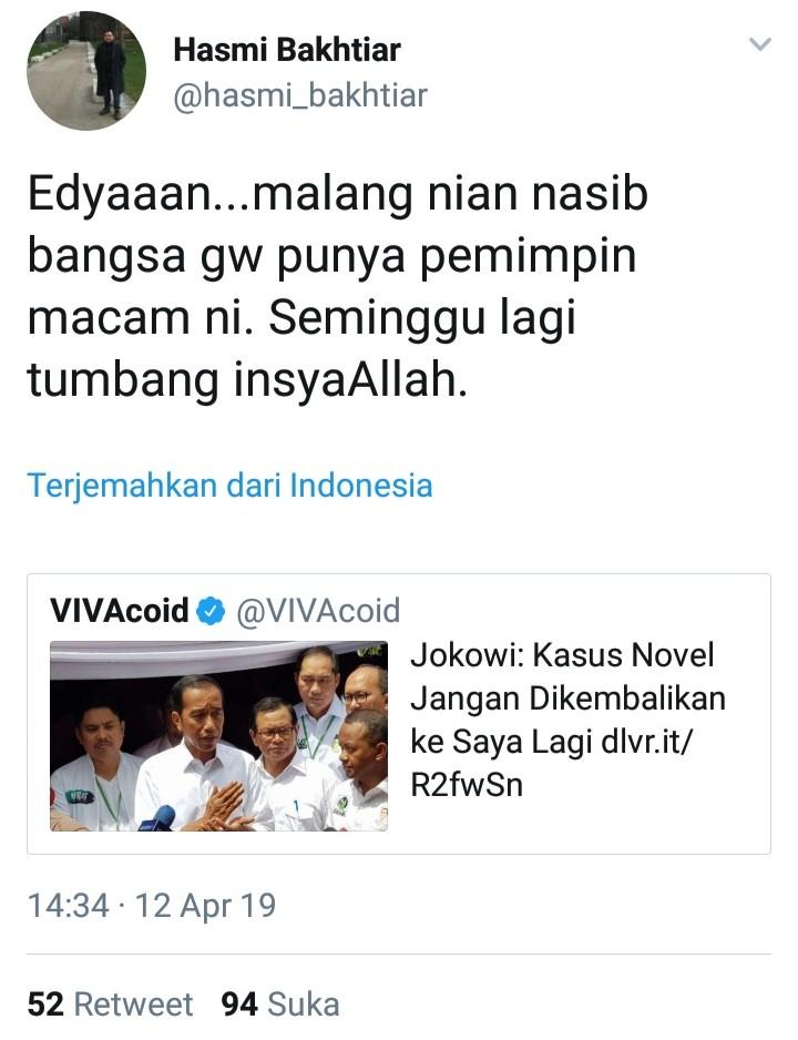 Reaksi Keras Netizen Soal Komentar Jokowi Terhadap Kasus Novel