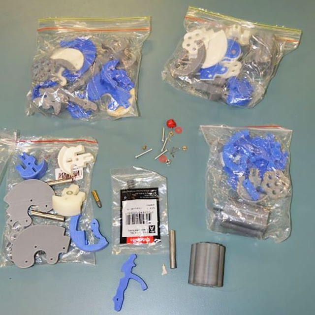 Image Attribute: The parts Wirth printed and stored in bags. Supplied: Queensland Police Service