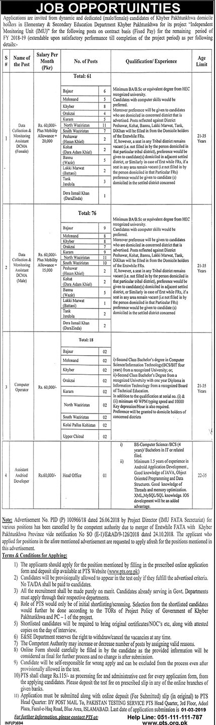 KPK Elementary And Secondary Education Jobs 2019 Feb via PTS, PTS Application form for KPK Elementary And Secondary Education Jobs
