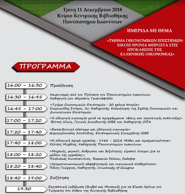 Πανεπ.Ιωαννίνων:Εκδήλωση σήμερα Για Τα 20 Χρόνια Του Τμήματος Οικονομικών Επιστημών