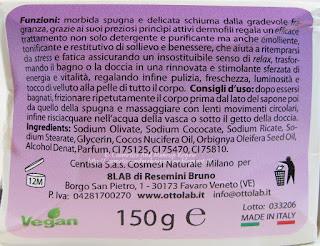 Nhemis Cosmetics - Le Spugnoselle - Uva Fragola - etichetta posteriore