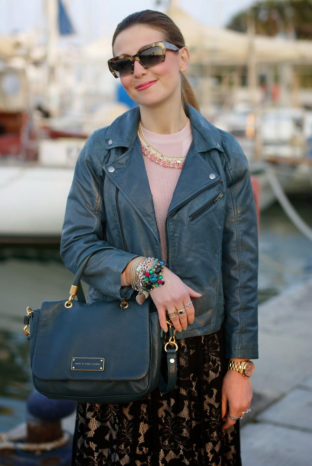 Black lace skirt, Miu Miu razor sunglasses, Barneys originals leather jacket, Fashion and Cookies, fashion blogger