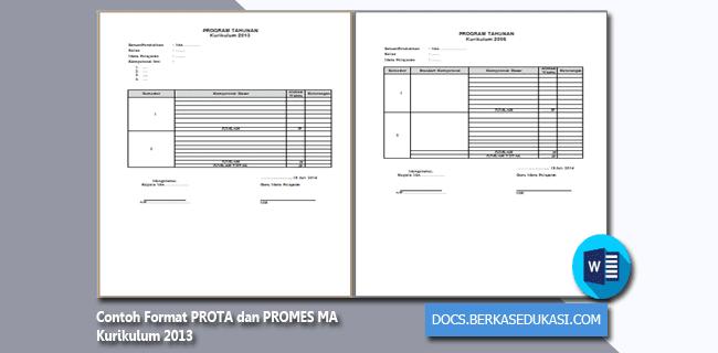 Contoh Format PROTA dan PROMES MA Kurikulum 2013