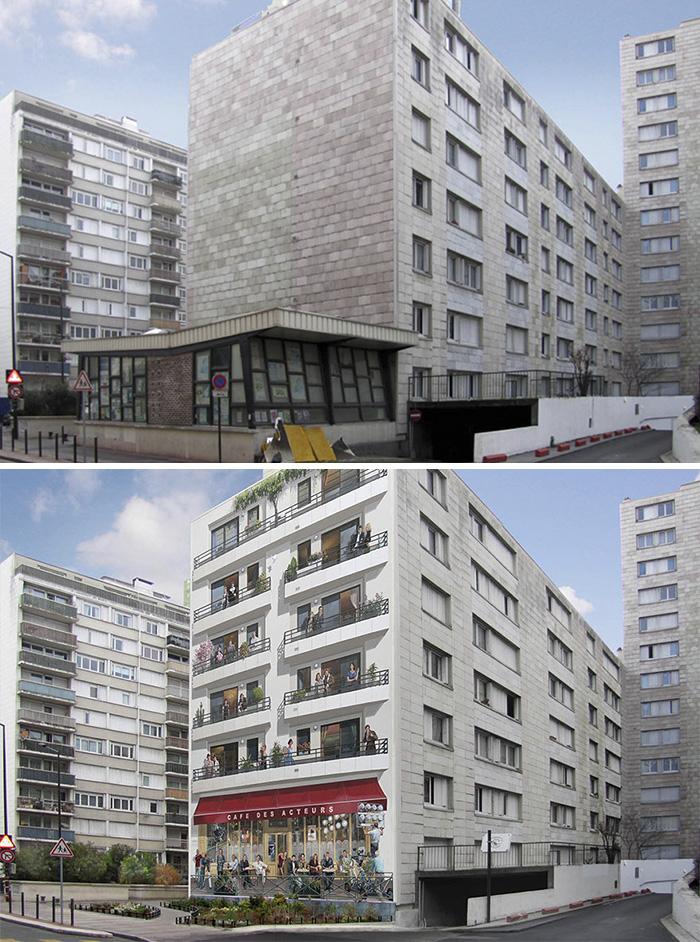 French Artist Transforms Boring City Walls Into Vibrant Scenes Full Of Life - Le café des acteurs