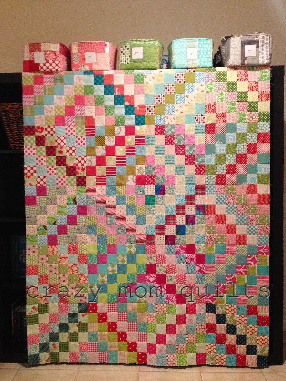 Crazy mom quilts chopped rhubarb quilt top for Scrap quilt
