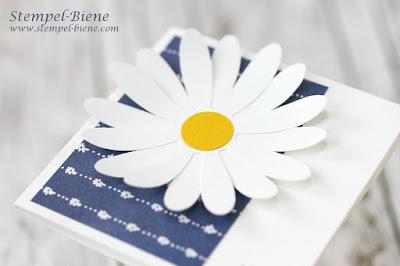 Stampinup Gänseblümchengruß; Grußkarte mit Blumen; Blumenkarte; Gänseblümchenstanze; Stemoel-Biene; Stampinup bestellen