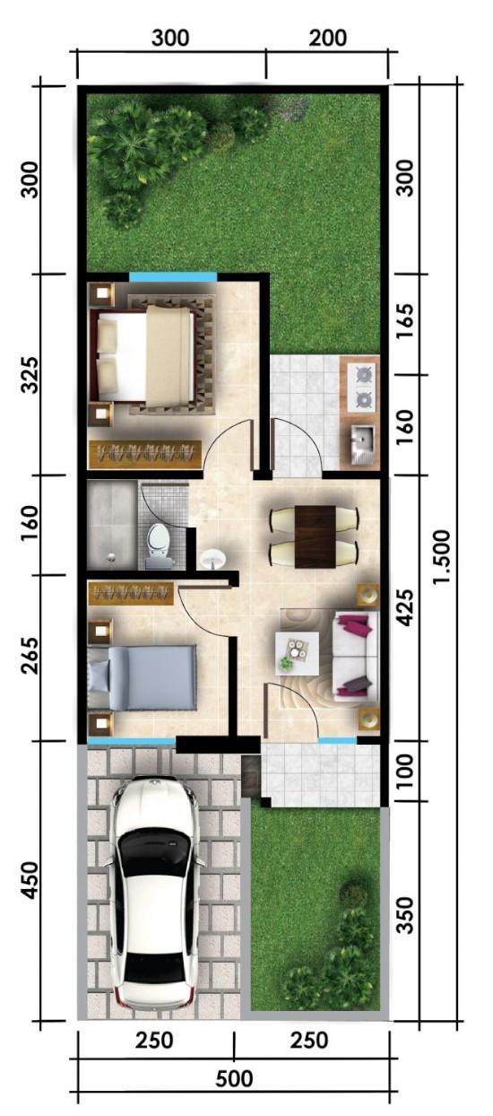 Denah rumah minimalis ukuran 5x15 meter 2 kamar tidur 1 lantai