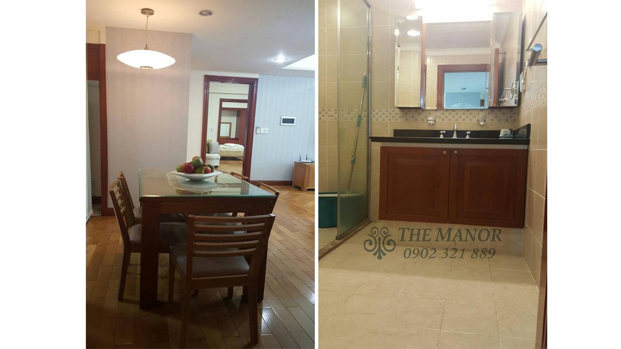 bán gấp hoặc cho thuê căn hộ The Manor 136m2 - bàn ăn và phòng tắm